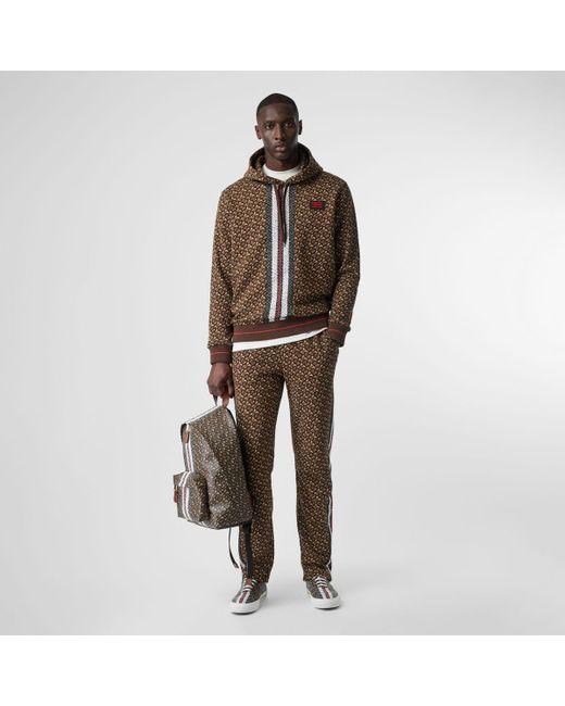 be20ded1b0 Men's Brown Monogram Stripe Print Cotton Trackpants