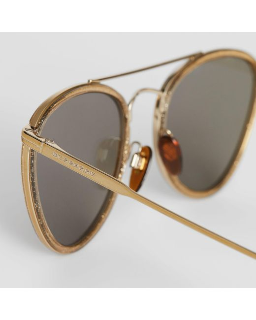 9342c0f35a0c ... Burberry - Metallic Glitter Detail Pilot Sunglasses - Lyst ...