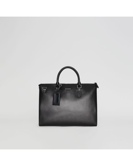 Burberry - Large London Leather Briefcase Black for Men - Lyst