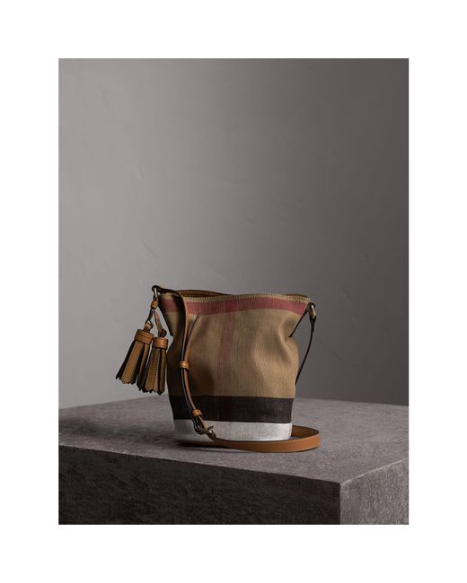 Burberry | Brown The Small Ashby In Canvas Check and Leather Bag | Lyst
