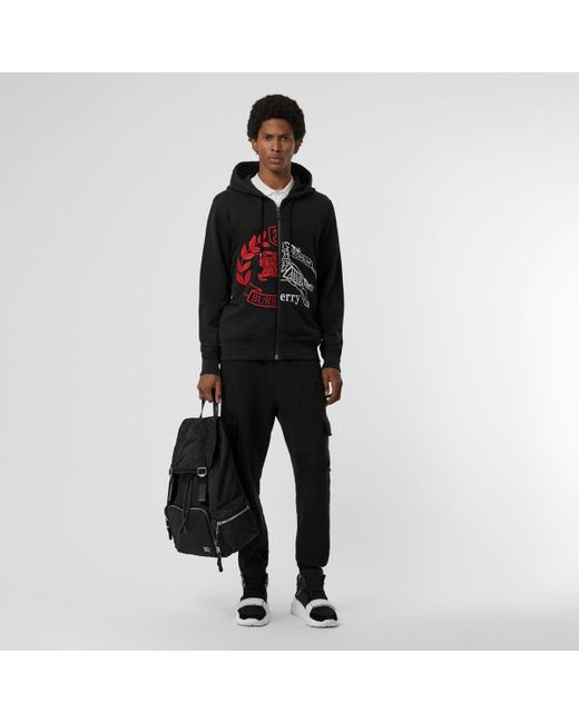 ad9a936f1 Burberry Contrast Crest Cotton Hooded Top in Black for Men - Save 53 ...