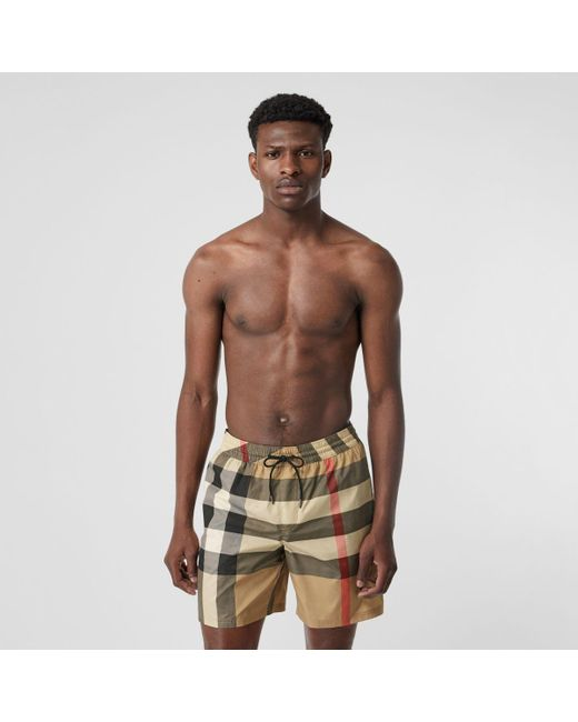 832470ff31 Burberry - Natural Check Drawcord Swim Shorts for Men - Lyst ...