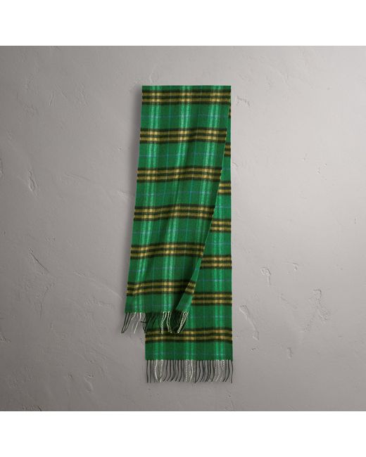 Burberry - Check Cashmere Scarf In Forest Green | - Lyst