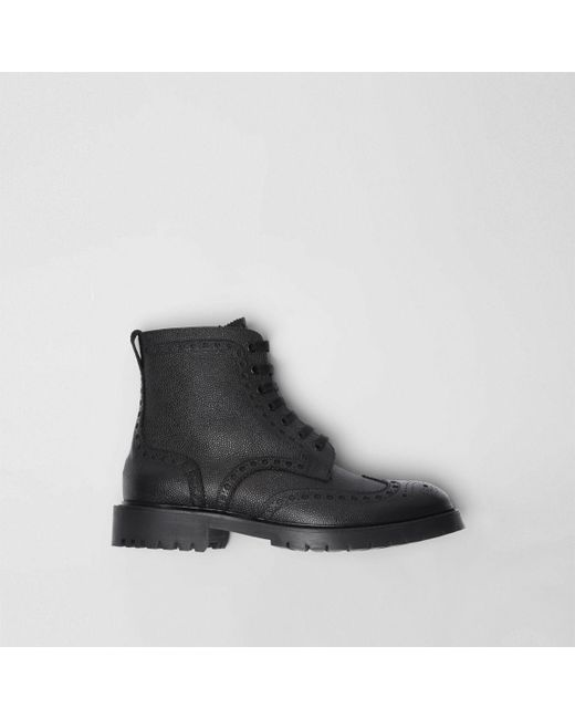 3bcedd16bed Burberry - Black Brogue Detail Grainy Leather Boots for Men - Lyst ...
