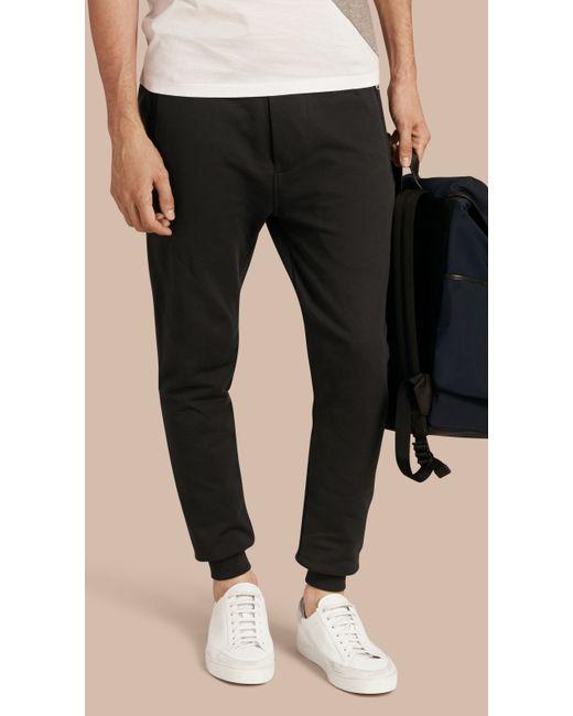 Burberry Cotton Sweat Pants Black In Black For Men