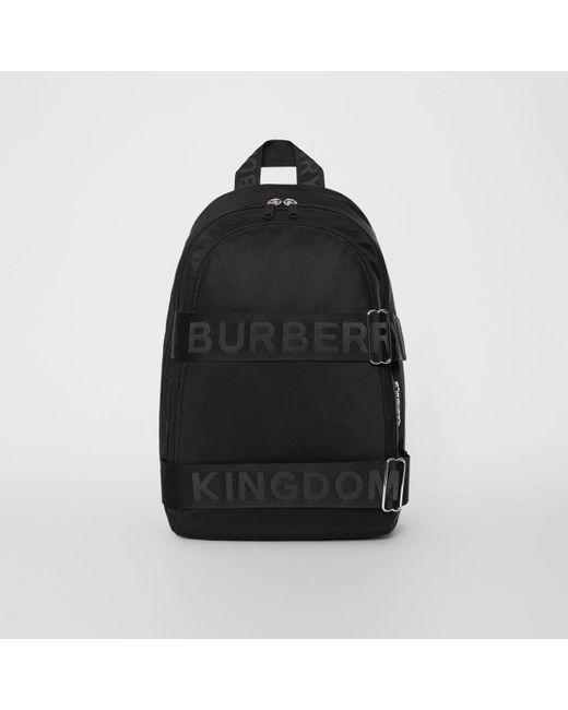 Burberry - Black Large Logo Detail Nylon Backpack for Men - Lyst ... 814fd6baf72b8