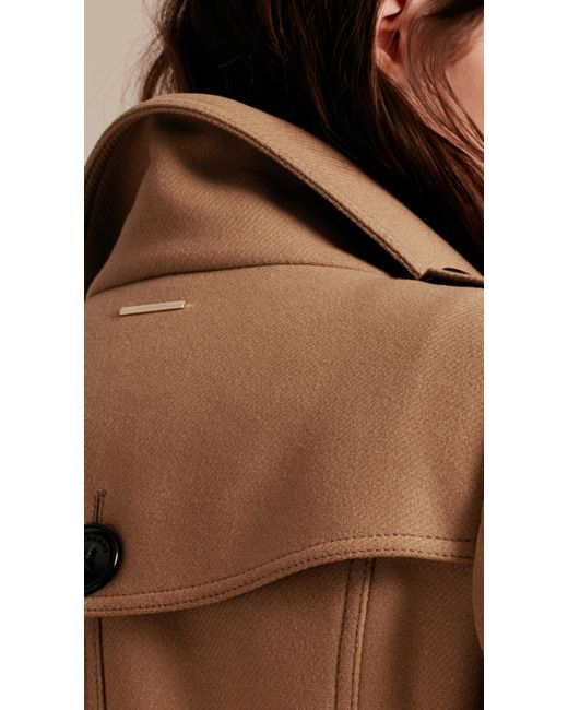 Technical wool cashmere funnel neck coat camel in brown camel lyst