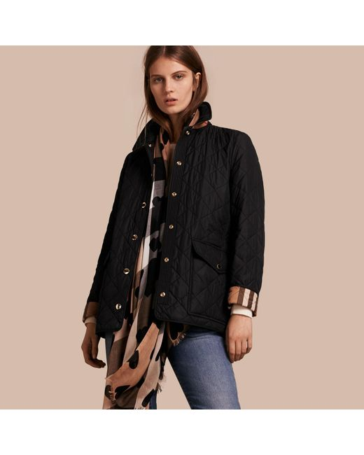 Lyst - Burberry Check Detail Diamond Quilted Jacket Black in Black ... : diamond quilted jacket burberry - Adamdwight.com