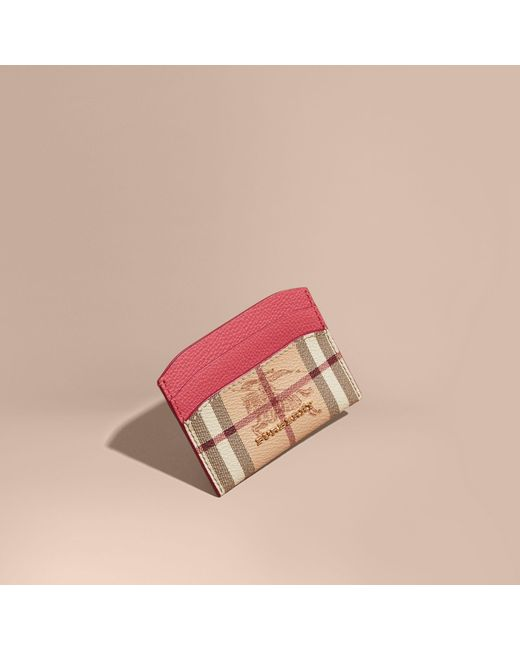 Burberry | Haymarket Check And Leather Card Case Plum Pink | Lyst