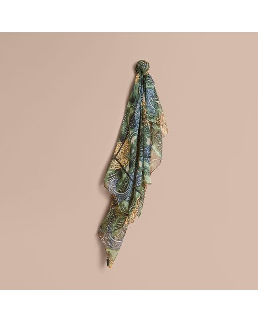 Burberry | Beasts Print Lightweight Silk Scarf In Sage Green | Lyst