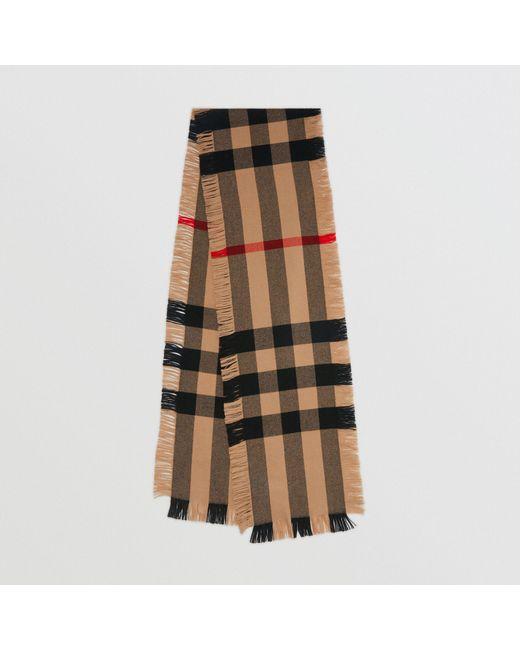 91c69b3734f9 Burberry - Multicolor Fringed Check Wool Scarf - Lyst ...