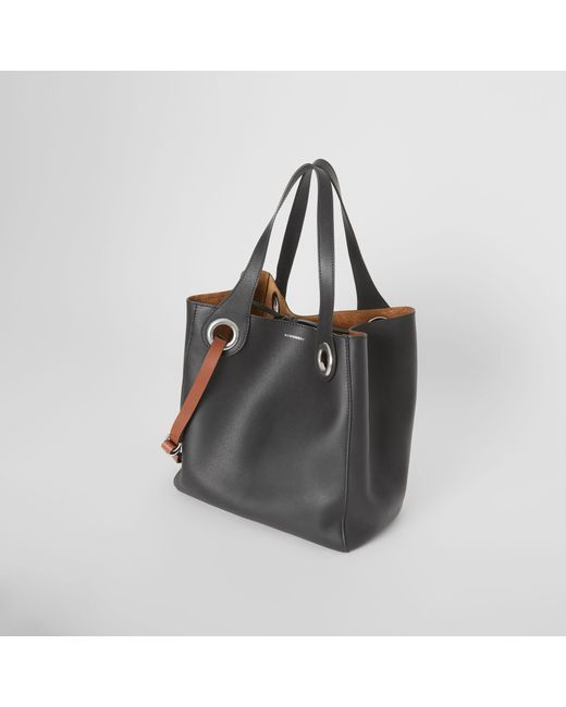 dd5febca6e5a ... Burberry - Black The Medium Leather Grommet Detail Tote - Lyst ...