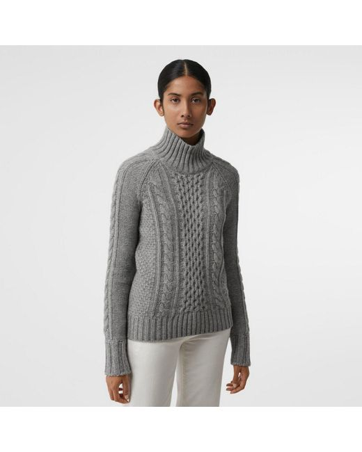 d944b41563c1 Lyst - Burberry Cable Knit Cashmere Turtleneck Sweater in Gray