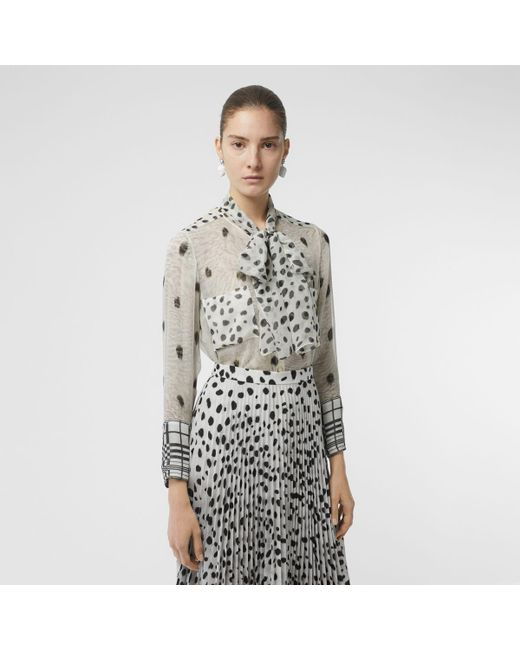 7417d404a0f15f Burberry - White Dalmatian Print Silk Pussy-bow Blouse - Lyst ...