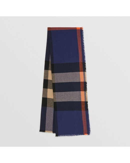 0e404be72c15 Burberry - Blue Fringed Check Wool Cashmere Scarf - Lyst ...