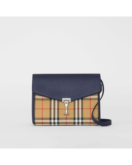 af76b2f931b3 Burberry - Blue Small Vintage Check And Leather Crossbody Bag - Lyst ...