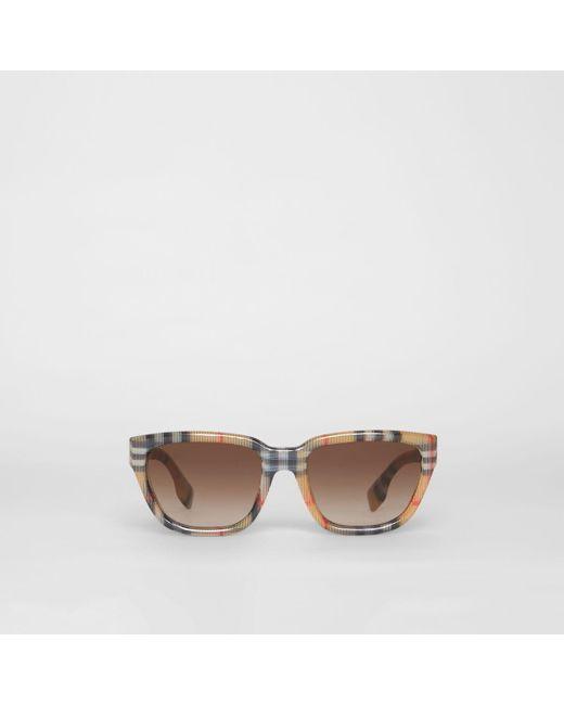 c3c937d8920 Burberry - Multicolor Vintage Check Detail Square Frame Sunglasses - Lyst  ...