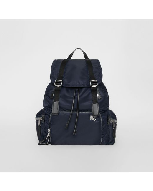 Lyst - Burberry Leather-trimmed Nylon Backpack in Blue for Men - Save 7% 2e34bf36df