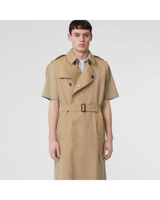 01d46f151b64 Burberry - Natural Sleeveless Cotton Gabardine Trench Coat for Men - Lyst  ...