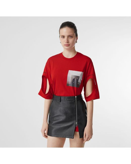 Burberry Red Cut-out Detail Montage Print Oversized T-shirt