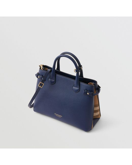 675e840f93a5 Burberry - The Medium Banner In Leather And House Check Ink Blue - Lyst ...
