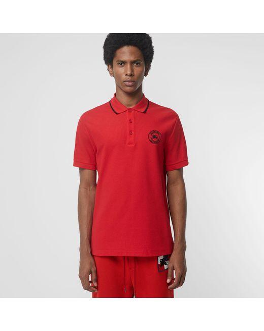 Burberry - Red Poloshirt mit Logo-Stickerei for Men - Lyst