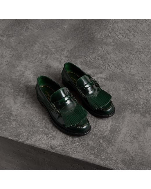 Burberry - Green Kiltie Fringe Leather Loafers for Men - Lyst