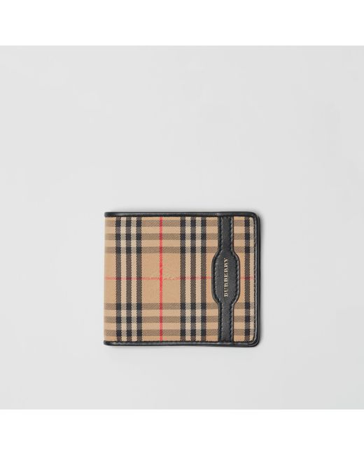 Burberry - Black 1983 Check And Leather International Bifold Wallet for Men - Lyst