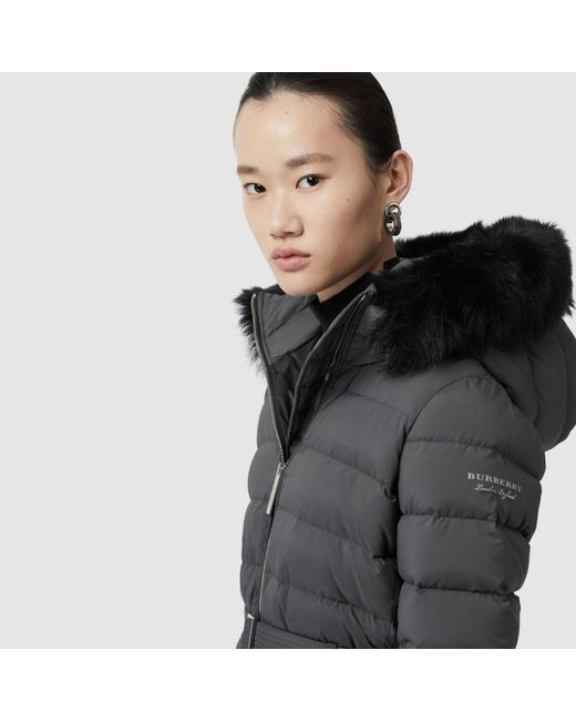 a58cf917dc85a ... Burberry - Gray Detachable Shearling Trim Down-filled Puffer Coat - Lyst  ...