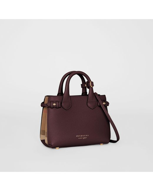 Burberry - Pink The Medium Banner In Leather And House Check Pale Orchid - Lyst