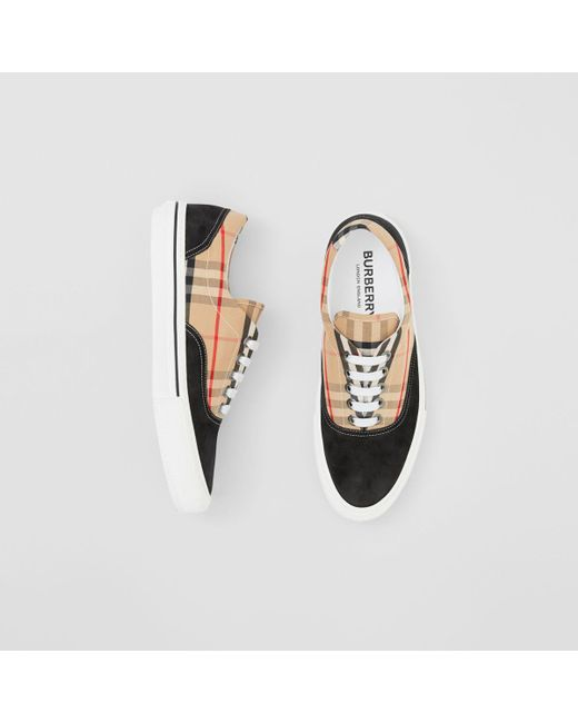 fb1a6099d243 Burberry Vintage Check Cotton And Suede Sneakers in Black for Men ...