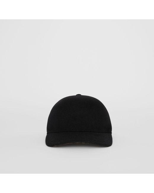 54a1516b861 ... Burberry - Black Felted Wool Baseball Cap - Lyst