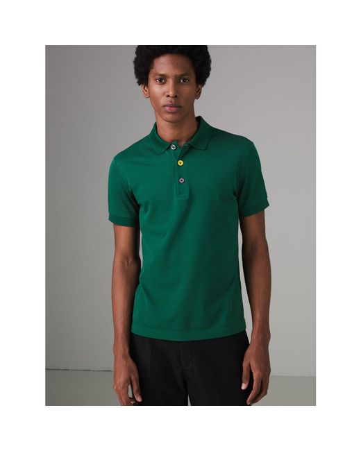 Burberry - Green Painted Button Cotton Piqué Polo Shirt for Men - Lyst