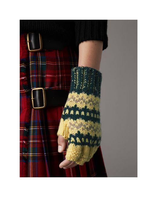 Burberry Fair Isle Cashmere Wool Blend Fingerless Gloves in Green ...