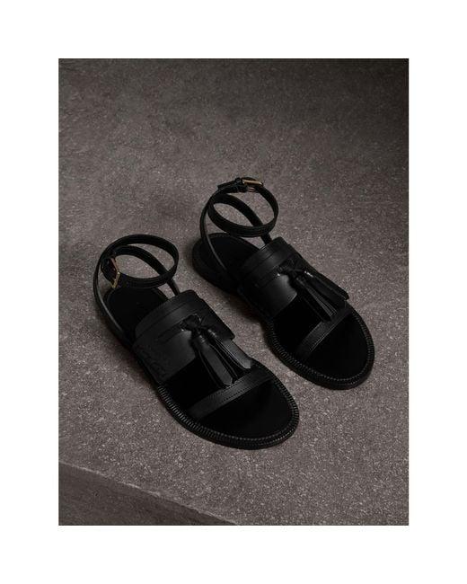 Burberry | Black Tasselled Leather Sandals | Lyst