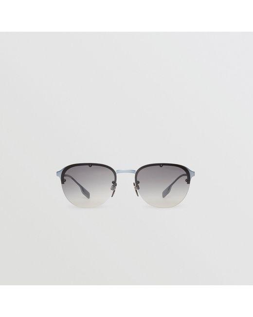 ff5cc3df278 Burberry - Gray Round Frame Sunglasses for Men - Lyst ...