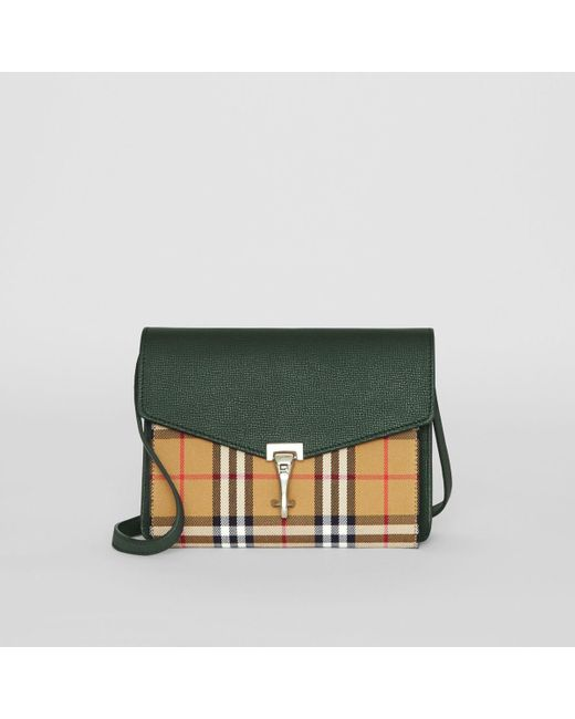 957c23072750 Burberry - Green Small Vintage Check And Leather Crossbody Bag - Lyst ...