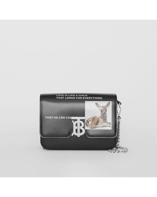 b6d720afcc50 Burberry - Black Small Montage Print Leather Tb Bag - Lyst ...