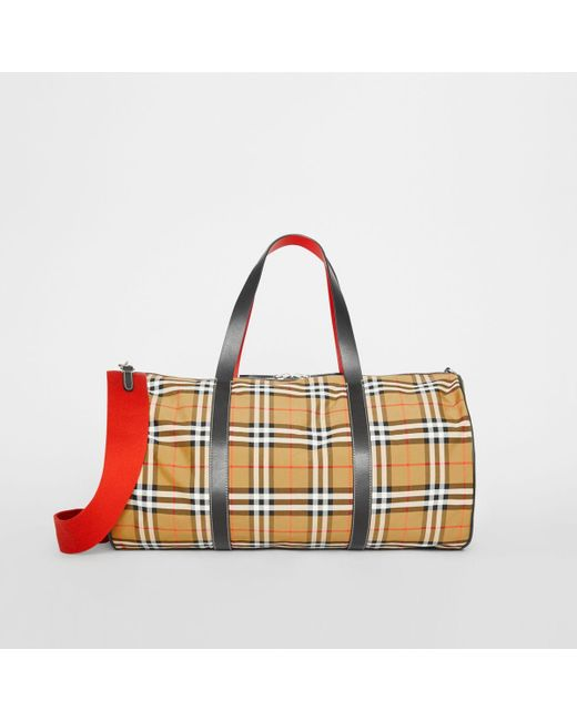 113f24e0a5cd Burberry - Multicolor Large Vintage Check And Leather Barrel Bag for Men -  Lyst ...