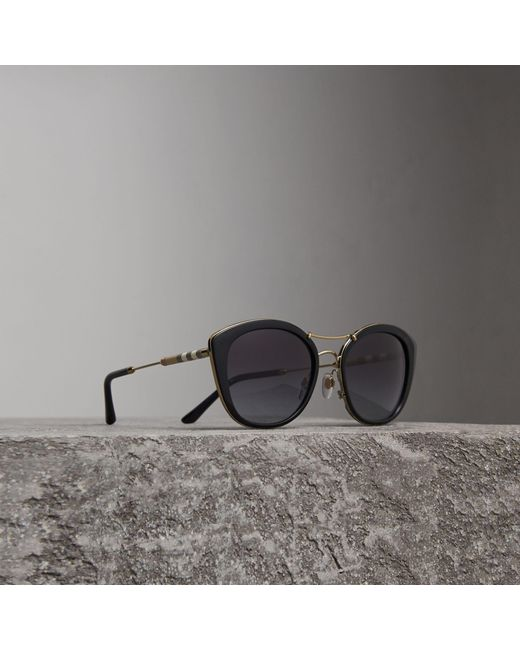 Burberry - Check Detail Round Frame Sunglasses In Black | - Lyst