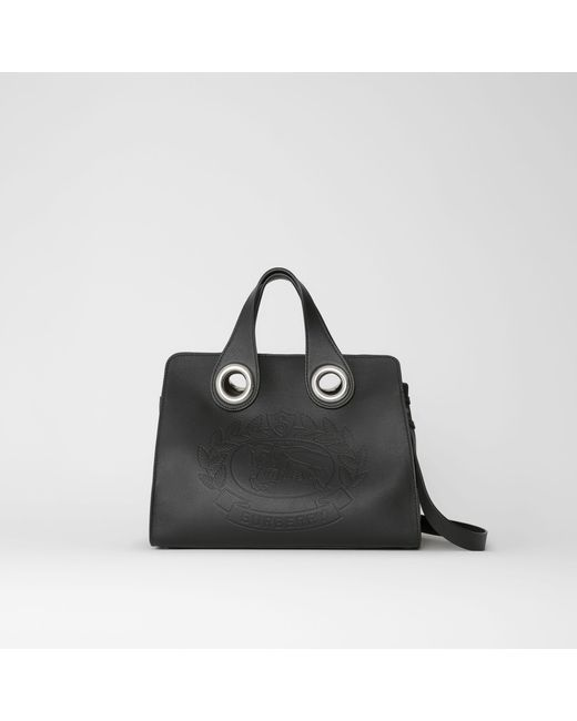 5b5edba9604 Burberry - Black The Leather Crest Grommet Detail Tote - Lyst ...