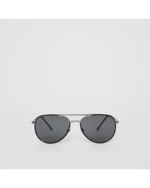 900af6c0bf1eec Burberry - Black Lunettes de soleil aviateur pliables for Men - Lyst ...