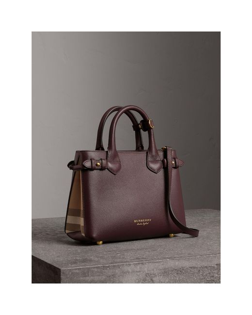 Burberry - Black The Medium Banner In Leather And House Check Pale Orchid - Lyst