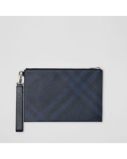 c3869cfc2fec Burberry - Blue London Check Zip Pouch for Men - Lyst ...