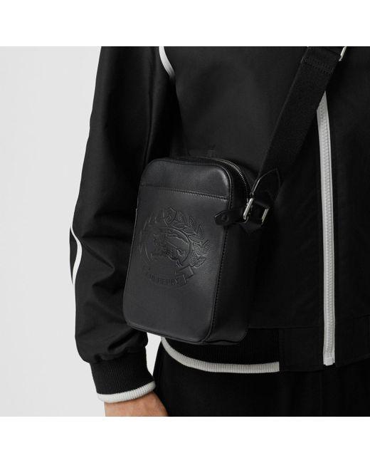 7b74893be68e ... Burberry - Black Small Embossed Crest Leather Crossbody Bag for Men -  Lyst ...