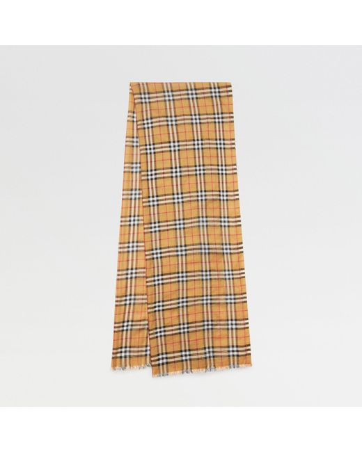 Burberry - Multicolor Vintage Check Lightweight Wool Silk Scarf - Lyst