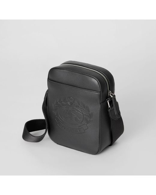 f77107200e4d ... Burberry - Black Small Embossed Crest Leather Crossbody Bag for Men -  Lyst ...