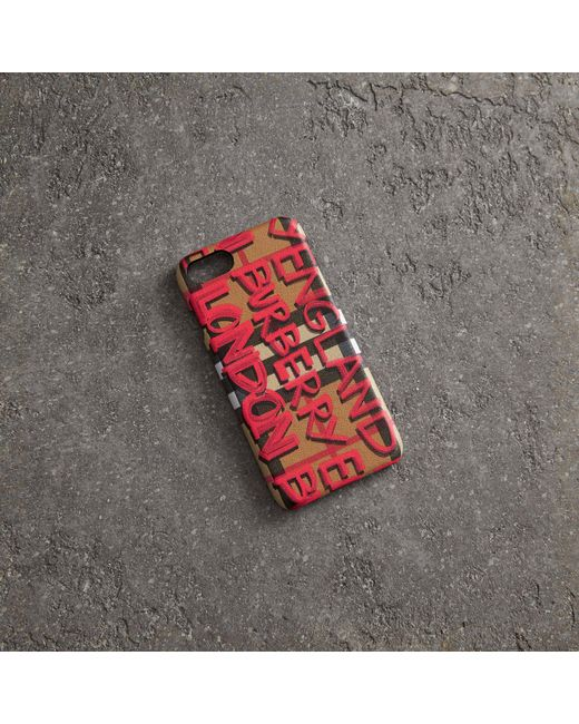 630ef6fbd0d Burberry - Red Graffiti Vintage Check Leather Iphone 8 Case - Lyst ...