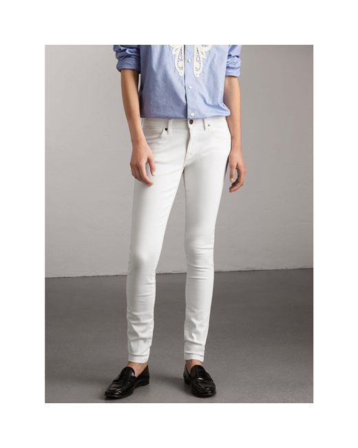 Burberry | Skinny Fit Low-rise White Jeans | Lyst