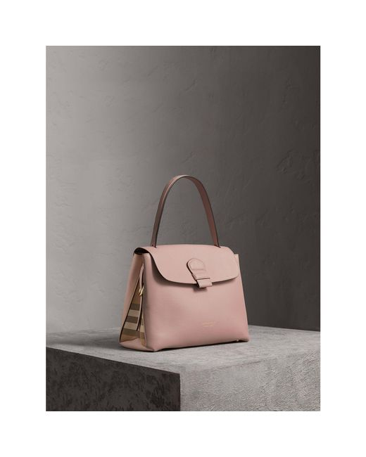 74189fc49f6c Burberry Medium Grainy Leather And House Check Tote Bag - Lyst